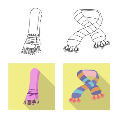 Vector design of scarf and shawl sign. Set of scarf and accessory stock symbol for web.