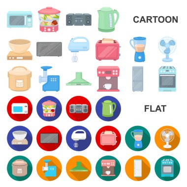 Types of household appliances cartoon icons in set collection for design.Kitchen equipment vector symbol stock web illustration.