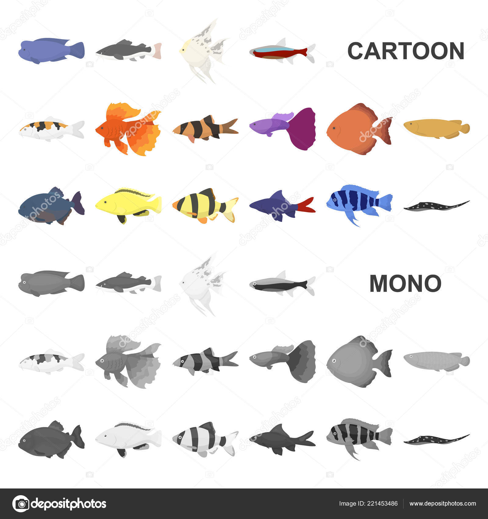 Different Types Of Fish Cartoon Icons In Set Collection For Design Marine And Aquarium Fish Vector Symbol Stock Web Illustration Stock Vector C Pandavector 221453486