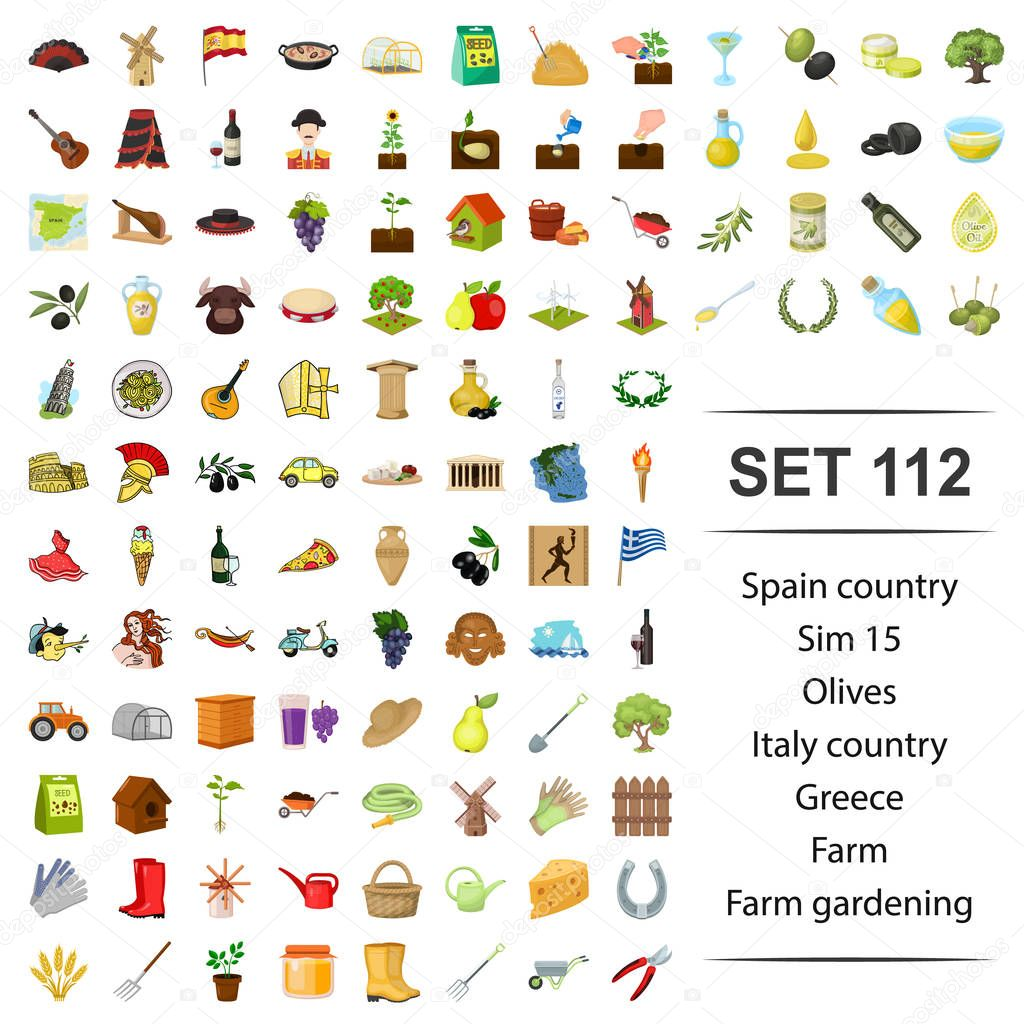 Vector illustration of Spain, country, olives,Italy, Greece farm gardening icon set.