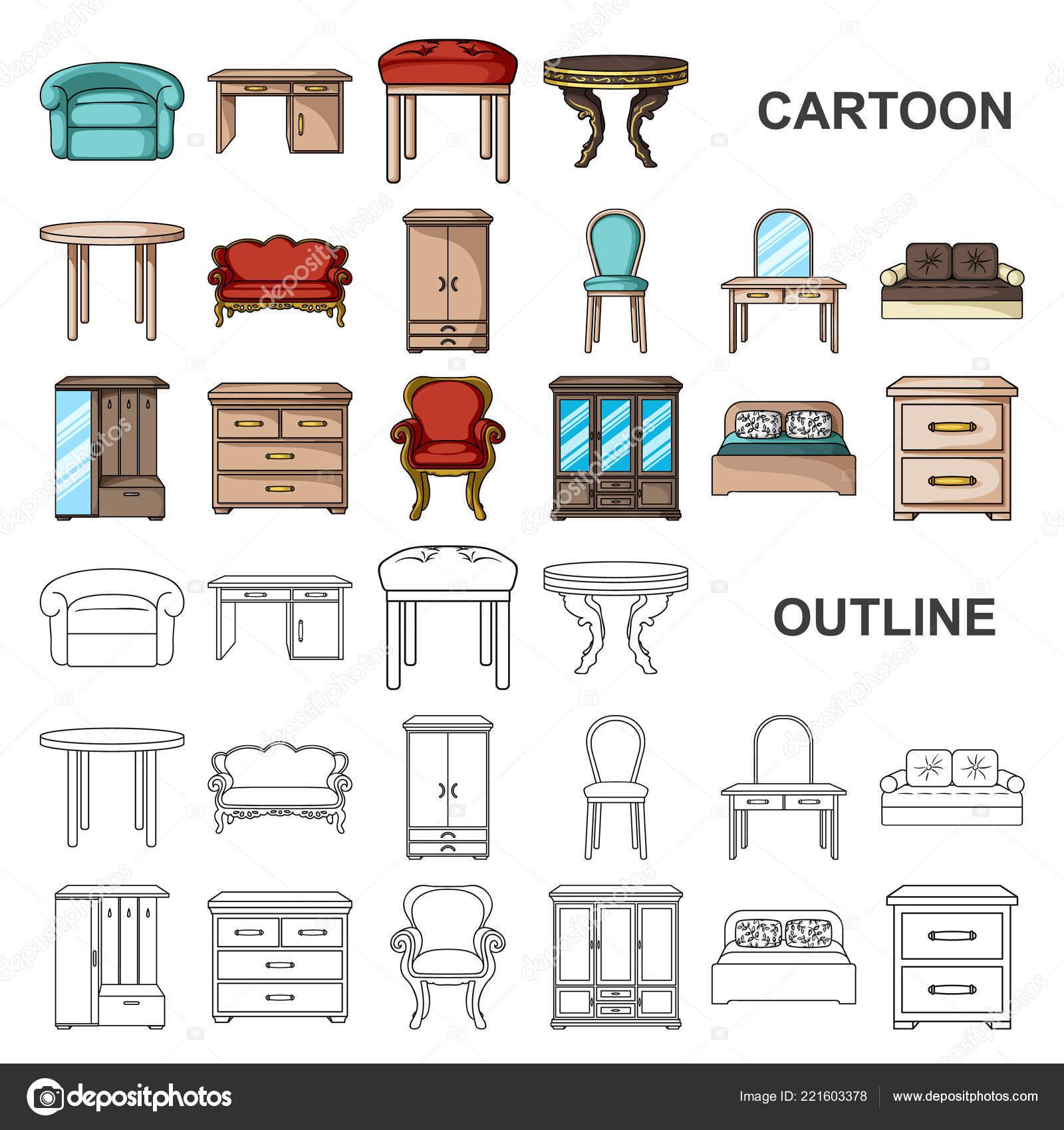 Mobilier et intérieur icônes dans la collection de jeu pour la conception de dessin animé illustration de meubles à la maison vectorielle symbole web