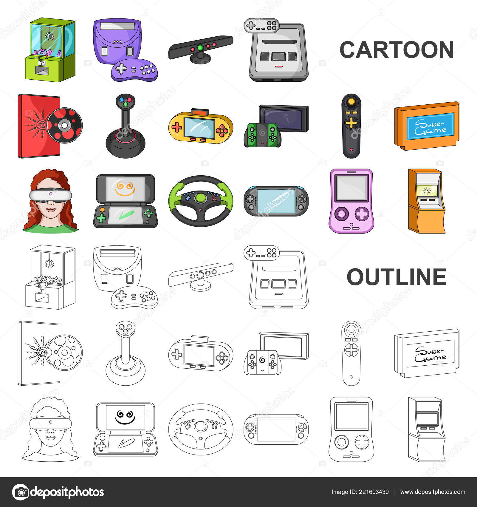 c14a4e125c6b Game console and virtual reality cartoon icons in set collection for design. Game Gadgets vector