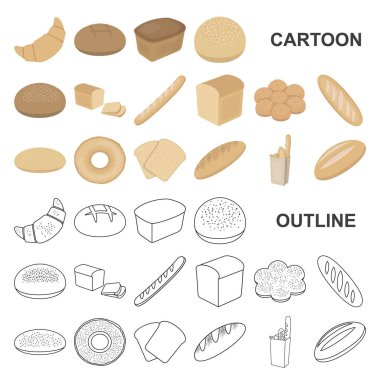 Types of bread cartoon icons in set collection for design. Bakery products vector symbol stock web illustration.