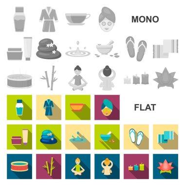 Spa salon and equipment flat icons in set collection for design. Relaxation and rest vector symbol stock web illustration.