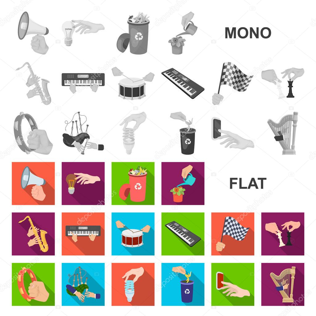 Manipulation by hands flat icons in set collection for design. Hand movement vector symbol stock illustration.