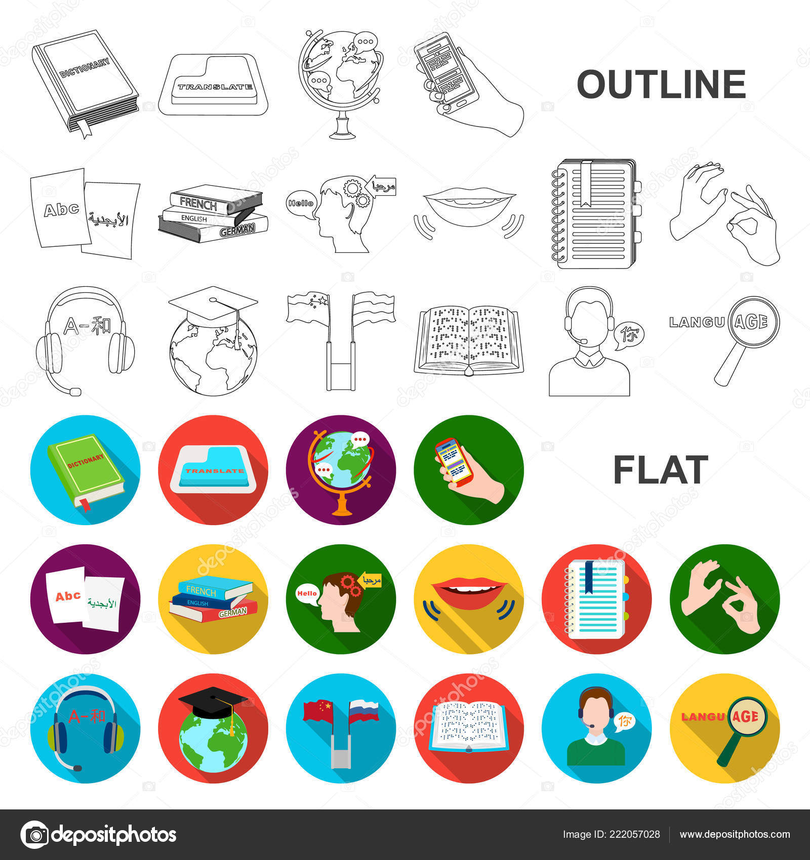 translator and linguist flat icons in set collection for design