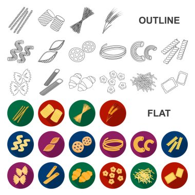 Types of pasta flat icons in set collection for design. Figured macaroni for eating vector symbol stock web illustration.