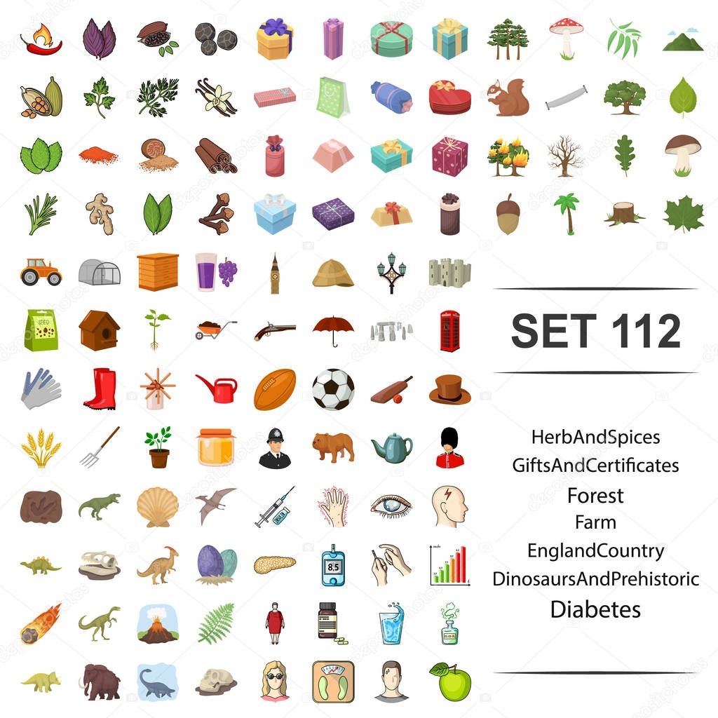 Vector illustration of herb, spices, gift, certificates, forest farm england country dinosaur prehistoric diabetes icon set.