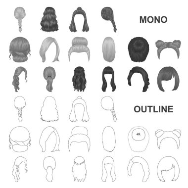 Female hairstyle monochrom icons in set collection for design. Stylish haircut vector symbol stock web illustration.