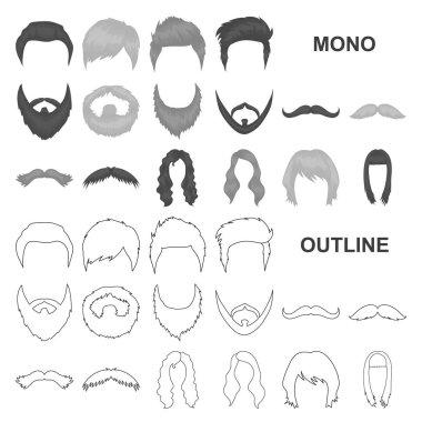 Mustache and beard, hairstyles monochrom icons in set collection for design. Stylish haircut vector symbol stock web illustration.