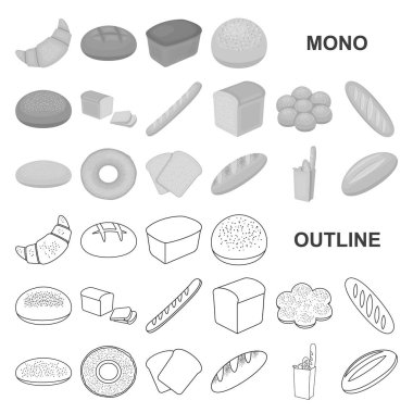 Types of bread monochrom icons in set collection for design. Bakery products vector symbol stock web illustration.