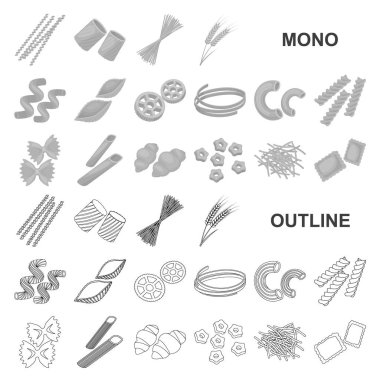 Types of pasta monochrom icons in set collection for design. Figured macaroni for eating vector symbol stock  illustration.