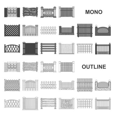 Different fence monochrom icons in set collection for design.Decorative fencing vector symbol stock web illustration.