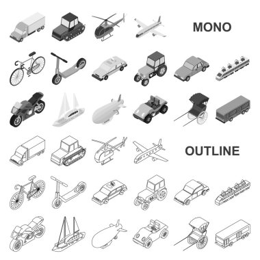 Different types of transport monochrom icons in set collection for design. Car and ship isometric vector symbol stock web illustration.