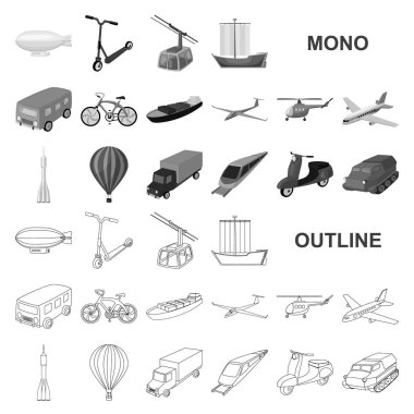 Different types of transport monochrom icons in set collection for design. Car and ship vector symbol stock web illustration.