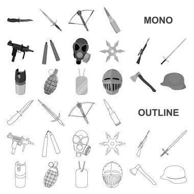 Types of weapons monochrom icons in set collection for design.Firearms and bladed weapons vector symbol stock web illustration.