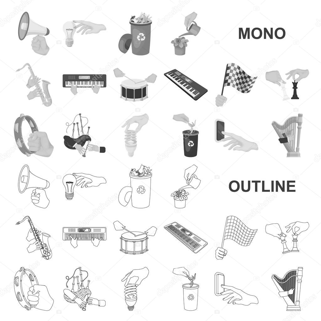 Manipulation by hands monochrom icons in set collection for design. Hand movement vector symbol stock web illustration.