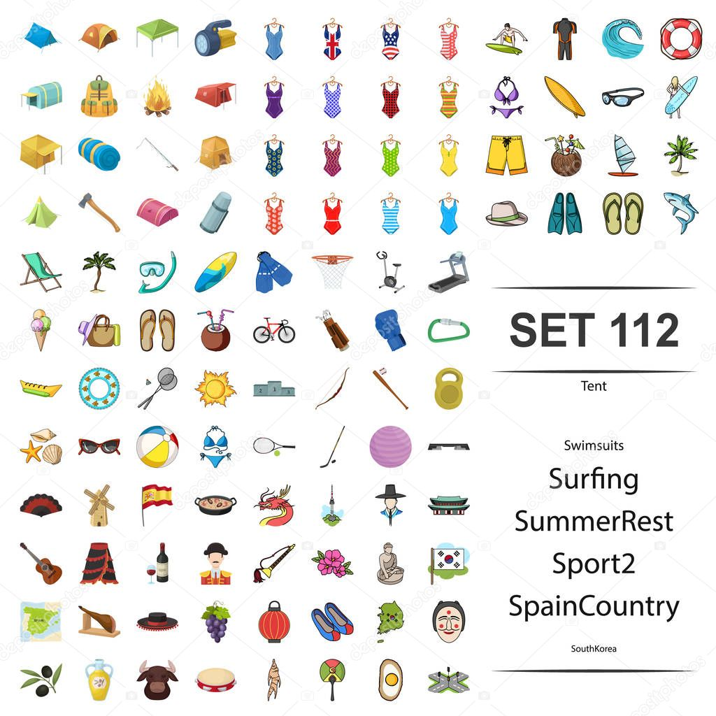 Vector illustration of tent, swimsuit, surfing, summer, rest, sport spain country South Korea icon set.