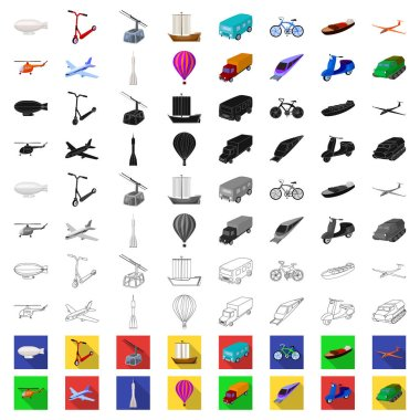 Different types of transport cartoon icons in set collection for design. Car and ship vector symbol stock web illustration.