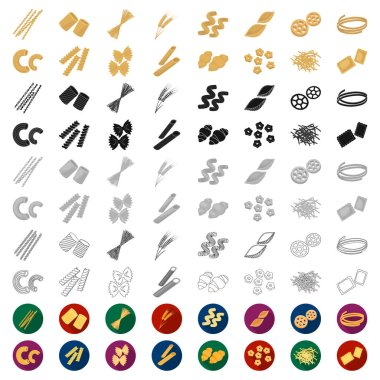 Types of pasta cartoon icons in set collection for design. Figured macaroni for eating vector symbol stock  illustration.