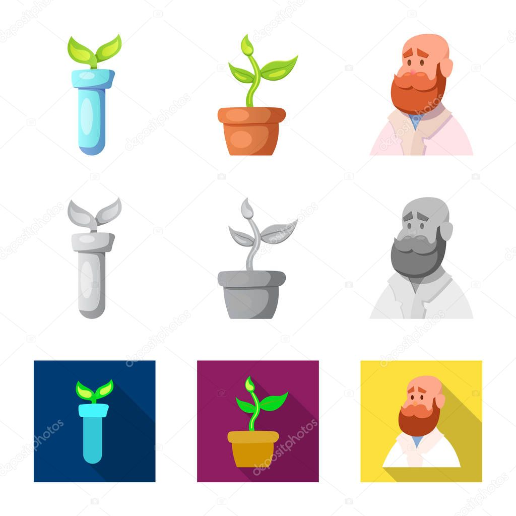 Isolated object of  and  sign. Collection of  and  stock symbol for web.