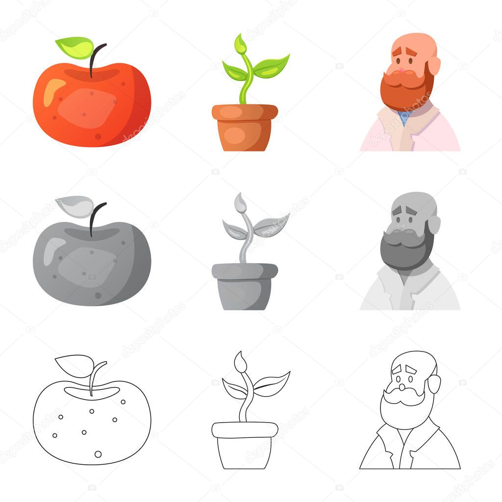 Isolated object of  and  symbol. Set of  and  stock vector illustration.