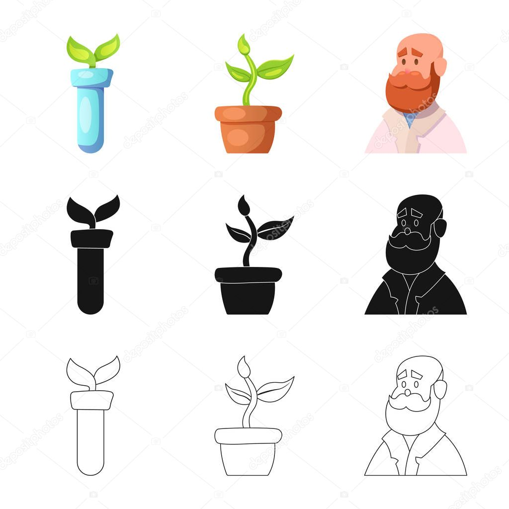 Vector illustration of  and  symbol. Collection of  and  vector icon for stock.