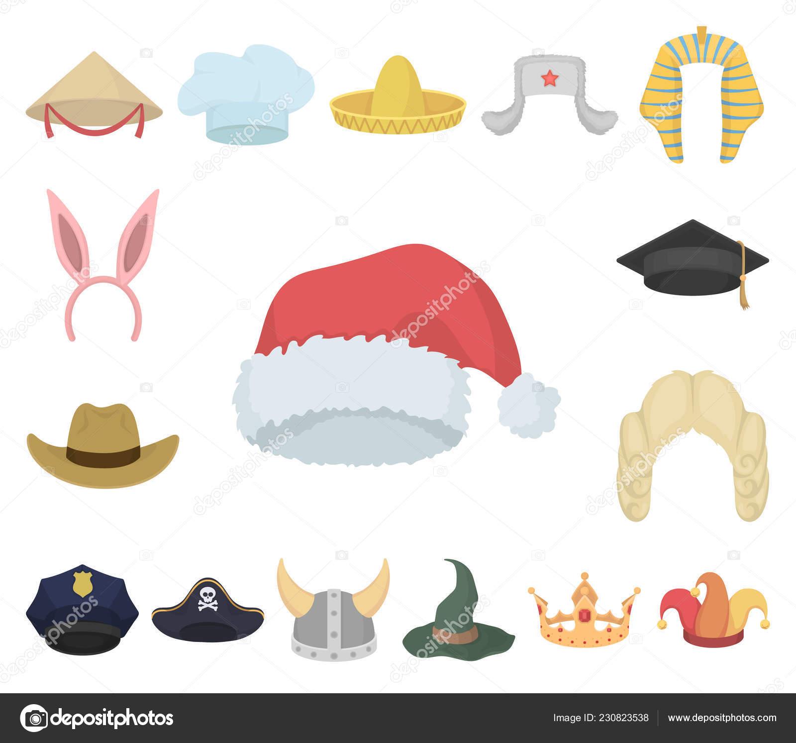 7220bd54e2869 Diferentes tipos de sombreros de dibujos animados iconos de colección set  de diseño. Acciones ilustración de tocado vector símbolo — Vector de ...