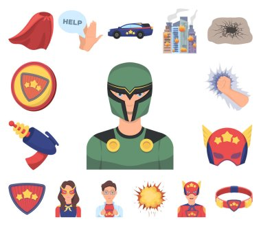 A fantastic superhero cartoon icons in set collection for design. Superheros equipment vector symbol stock web illustration.