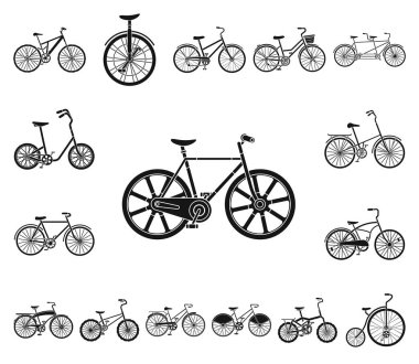 Various bicycles black icons in set collection for design. The type of transport vector symbol stock  illustration.
