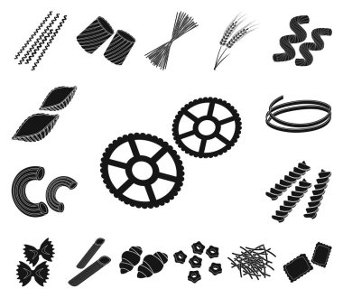Types of pasta black icons in set collection for design. Figured macaroni for eating vector symbol stock web illustration.