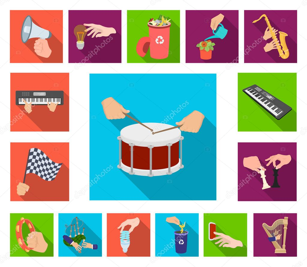 Manipulation by hands flat icons in set collection for design. Hand movement vector symbol stock web illustration.