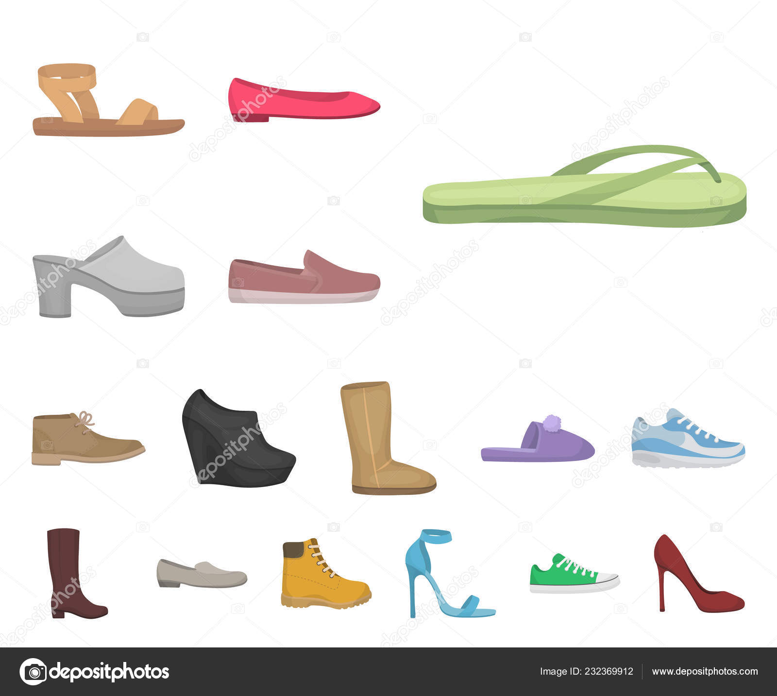 0442aecff371 A variety of shoes cartoon icons in set collection for design. Boot,  sneakers vector symbol stock illustration. — Vector by PandaVector