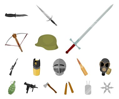 Types of weapons cartoon icons in set collection for design.Firearms and bladed weapons vector symbol stock web illustration.