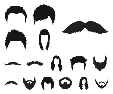Mustache and beard, hairstyles black icons in set collection for design. Stylish haircut vector symbol stock  illustration.