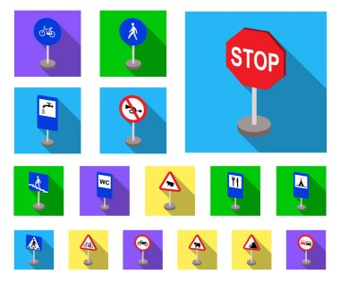 Different types of road signs flat icons in set collection for design. Warning and prohibition signs vector symbol stock web illustration.
