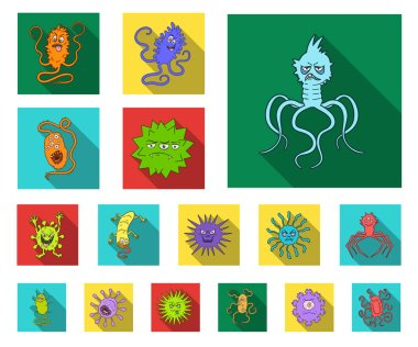 Types of funny microbes flat icons in set collection for design. Microbes pathogenic vector symbol stock web illustration.
