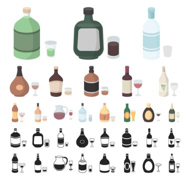 Types of alcohol cartoon, black icons in set collection for design. Alcohol in bottles vector symbol stock web illustration.