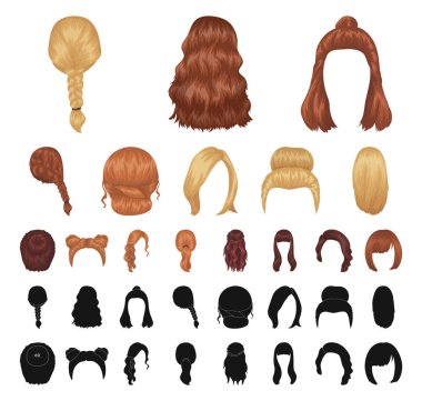 Female hairstyle cartoon, black icons in set collection for design. Stylish haircut vector symbol stock web illustration.