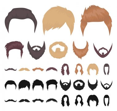 Mustache and beard, hairstyles cartoon, black icons in set collection for design. Stylish haircut vector symbol stock web illustration.