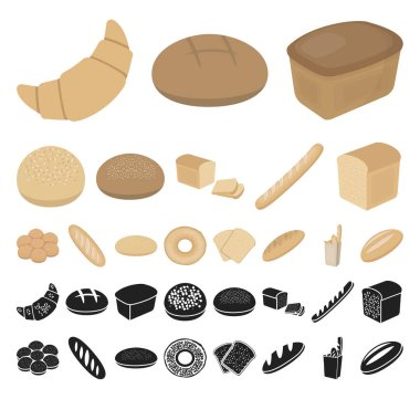 Types of bread cartoon, black icons in set collection for design. Bakery products vector symbol stock web illustration.