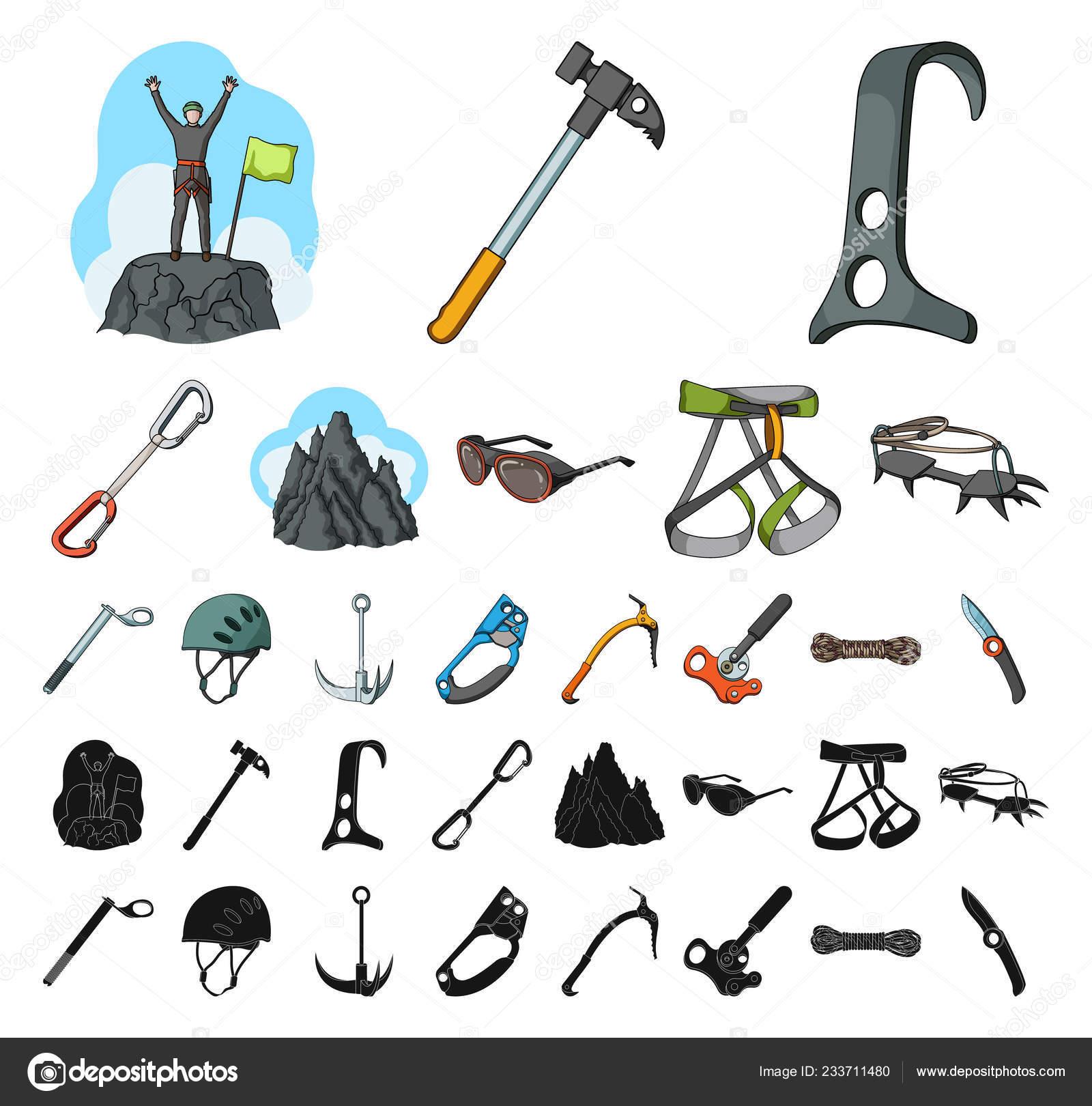 a09f8b13d58 Montañismo y escalada de los iconos de dibujos animados, negro de colección  set de diseño