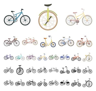 Various bicycles cartoon, black icons in set collection for design. The type of transport vector symbol stock web illustration.