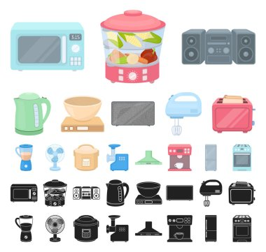 Types of household appliances cartoon, black icons in set collection for design.Kitchen equipment vector symbol stock web illustration.