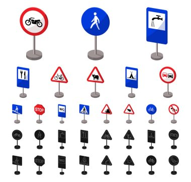 Different types of road signs cartoon, black icons in set collection for design. Warning and prohibition signs vector symbol stock web illustration.