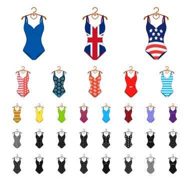 Different types of swimsuits cartoon, black icons in set collection for design. Swimming accessories vector symbol stock web illustration.