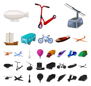 Different types of transport cartoon, black icons in set collection for design. Car and ship vector symbol stock web illustration.