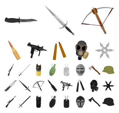 Types of weapons cartoon, black icons in set collection for design.Firearms and bladed weapons vector symbol stock web illustration.