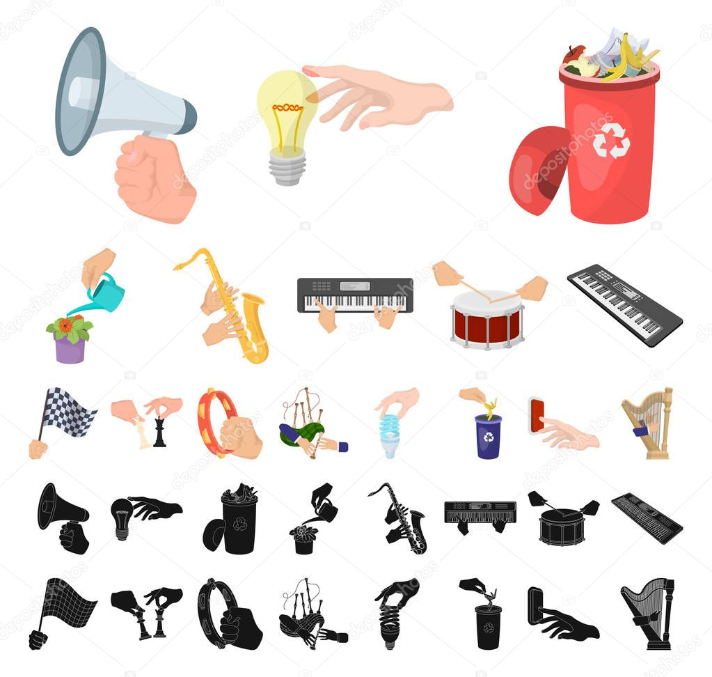 Manipulation by hands cartoon, black icons in set collection for design. Hand movement vector symbol stock web illustration.