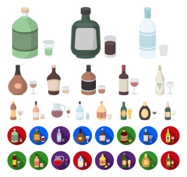 Types of alcohol cartoon,flat icons in set collection for design. Alcohol in bottles vector symbol stock web illustration.